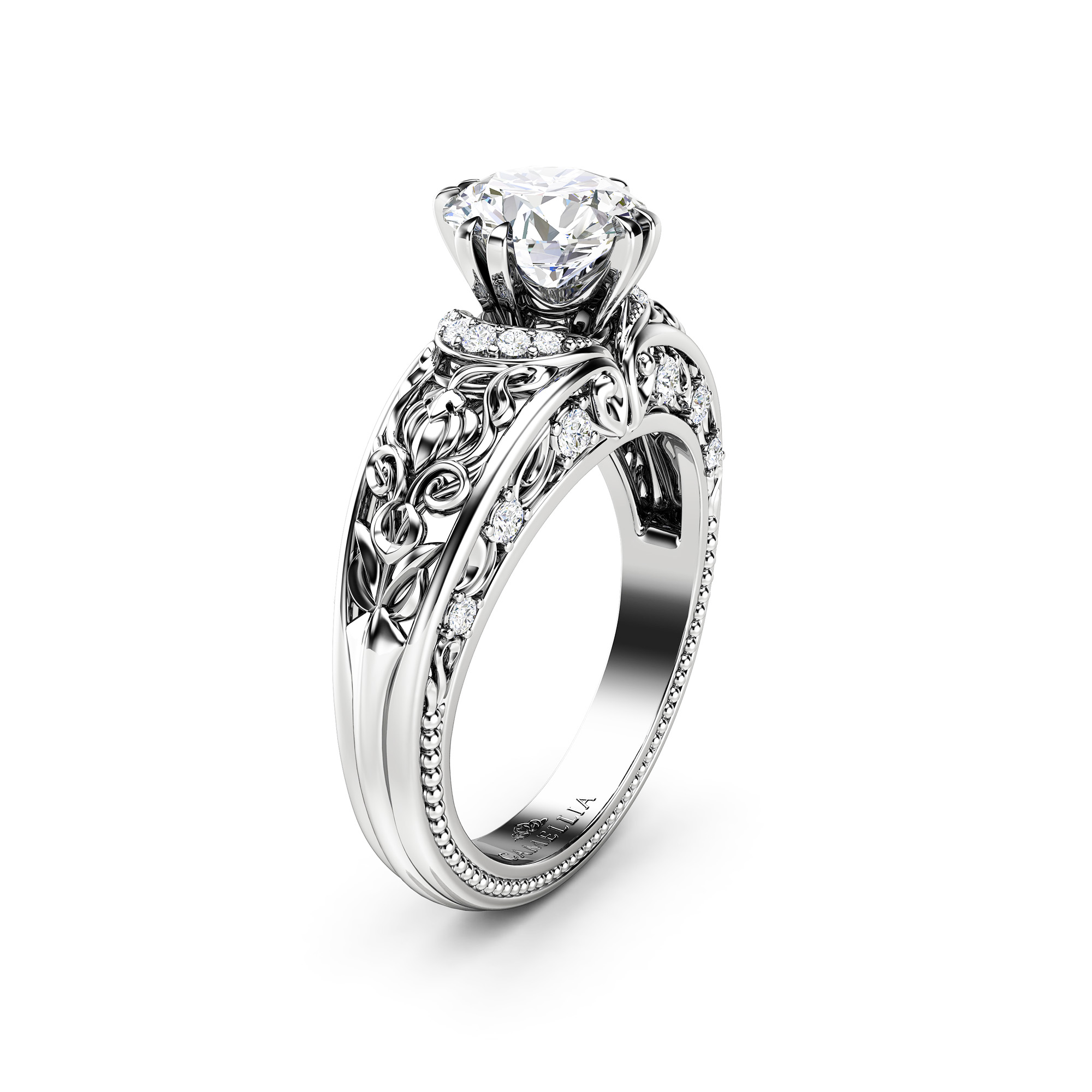 Round Moissanite Engagement Ring Forever One Moissanite Engagement Ring Solid White Gold Ring
