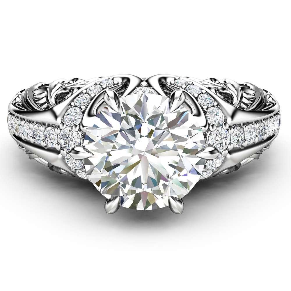 Art Deco Moissanite Ring Laboratory Diamond Engagement Ring White Gold Vintage Promise Ring