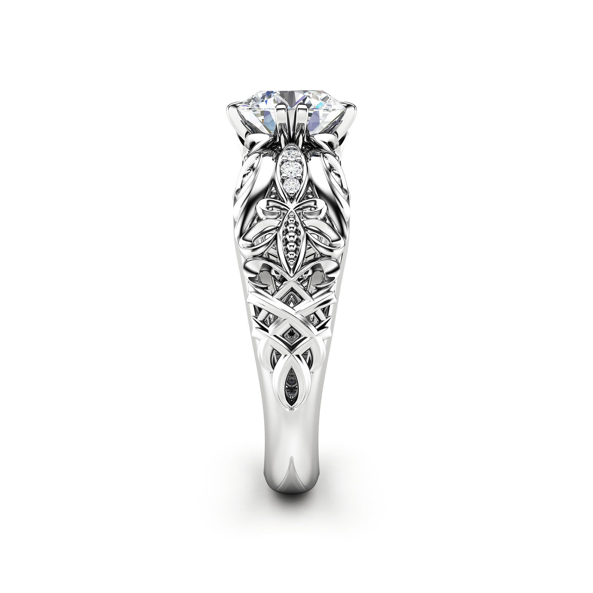 Round Moissanite Ring Moissanite Alternative Engagement Ring 14K White Gold Ring Round Shape