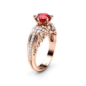 Art Deco Ruby Gemstone Ring Ruby Engagement Ring Rose Gold Vintage Statement Ring