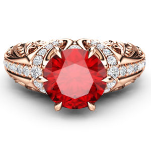 Art Deco Ruby Gemstone Ring Ruby Engagement Ring Rose Gold Vintage Statement Ring