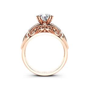 Forever One Round Moissanite Engagement Ring Art Nouveau Moissanite wedding Ring Rose Gold Diamond Alternative Engagement Ring