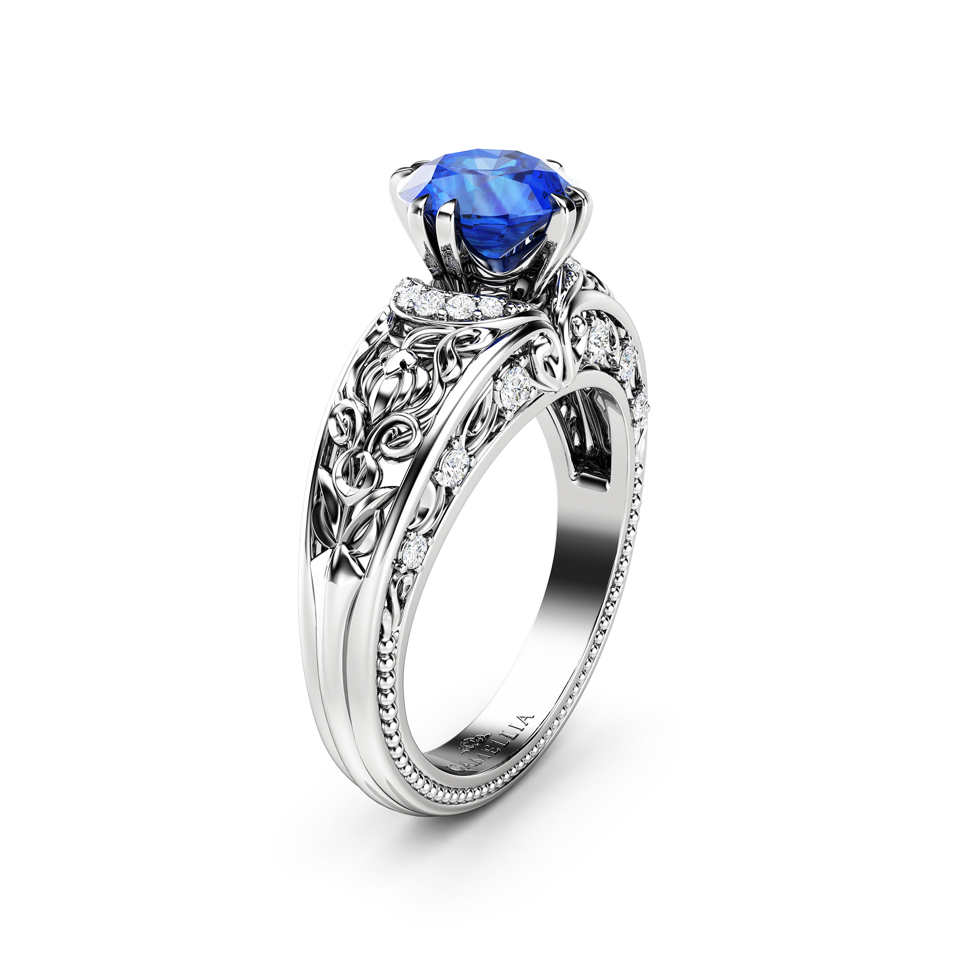 Blue Sapphire and Diamonds Engagement Ring September Birthstone Ring Gemstone Engagement Ring 14K White Gold Ring