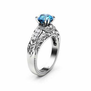 Round Blue Diamond Engagement Ring Vintage Inspired Wedding Ring 1.20 Ct Blue Diamond Ring