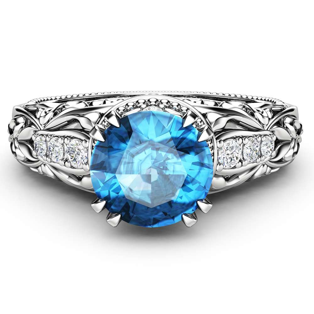 Round Blue Diamond Engagement Ring Vintage Inspired Wedding Ring 1.20 Ct Blue Diamond Ring