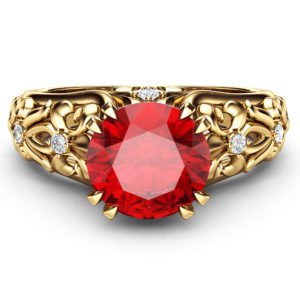 Ruby Art Nouveau Ring Ruby Gemstone Engagement Ring 14K Gold Round Cut Ruby Ring