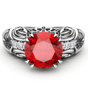 Ruby Engagement Ring Vintage 14K White Gold Ring Ruby Gemstone Wedding Ring Vintage Engagement Ring
