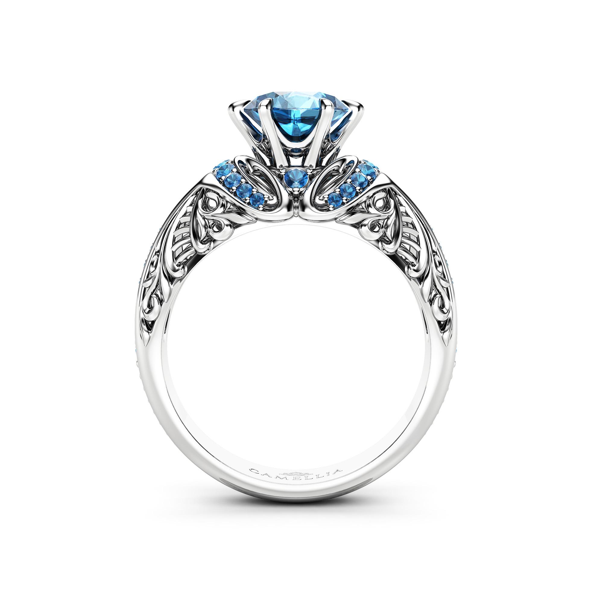 1.2 Carat Blue Diamond Ring White Gold Engagement Ring 14K Solid Gold Statement Ring