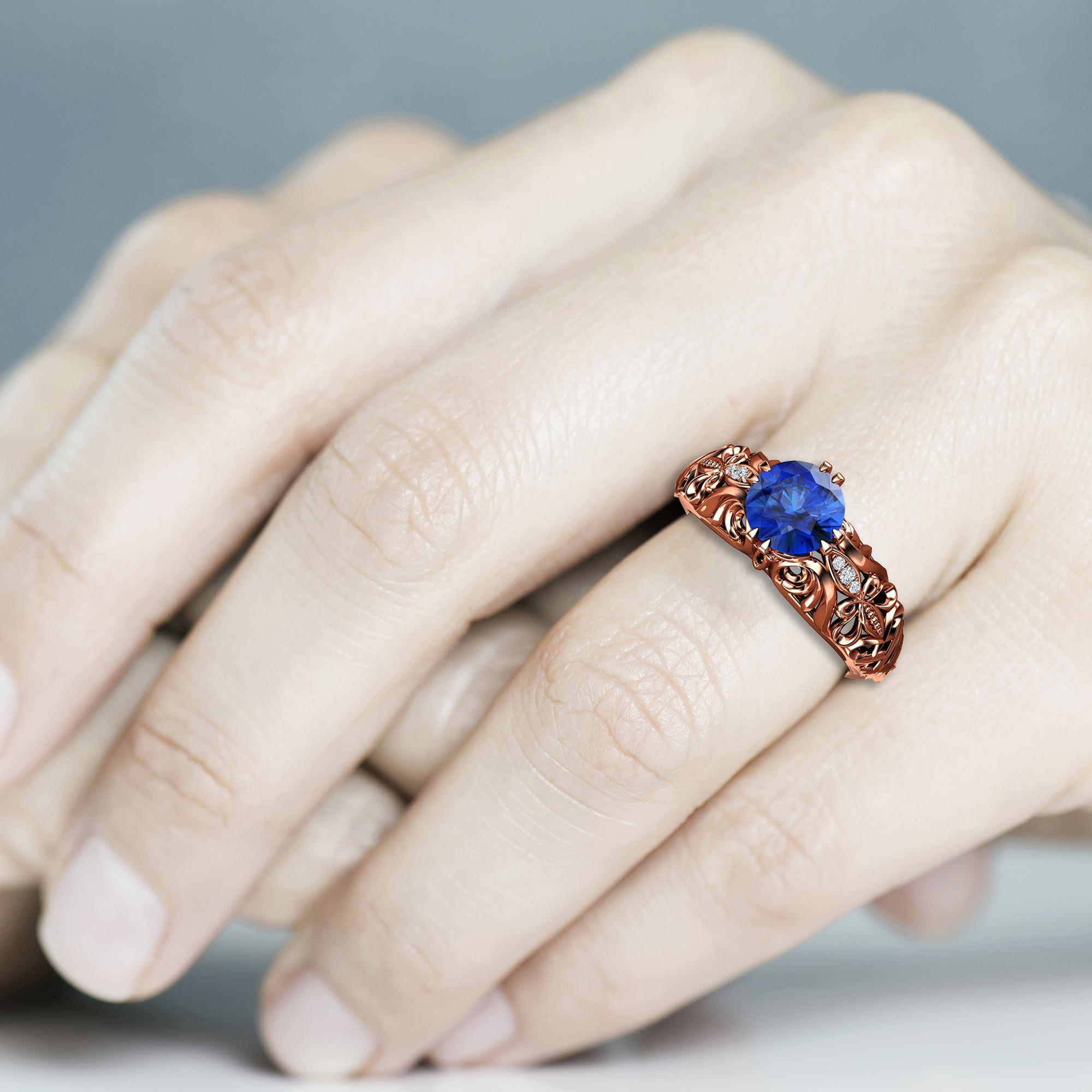 Natural Round Blue Sapphire Engagement Ring 14K Rose Gold Ring 1.5 Carat Sapphire Bridal Ring