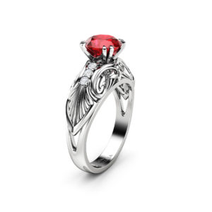 Ruby Engagement Ring Vintage 14K White Gold Ring Ruby Gemstone Wedding Ring Vintage Engagement Ring