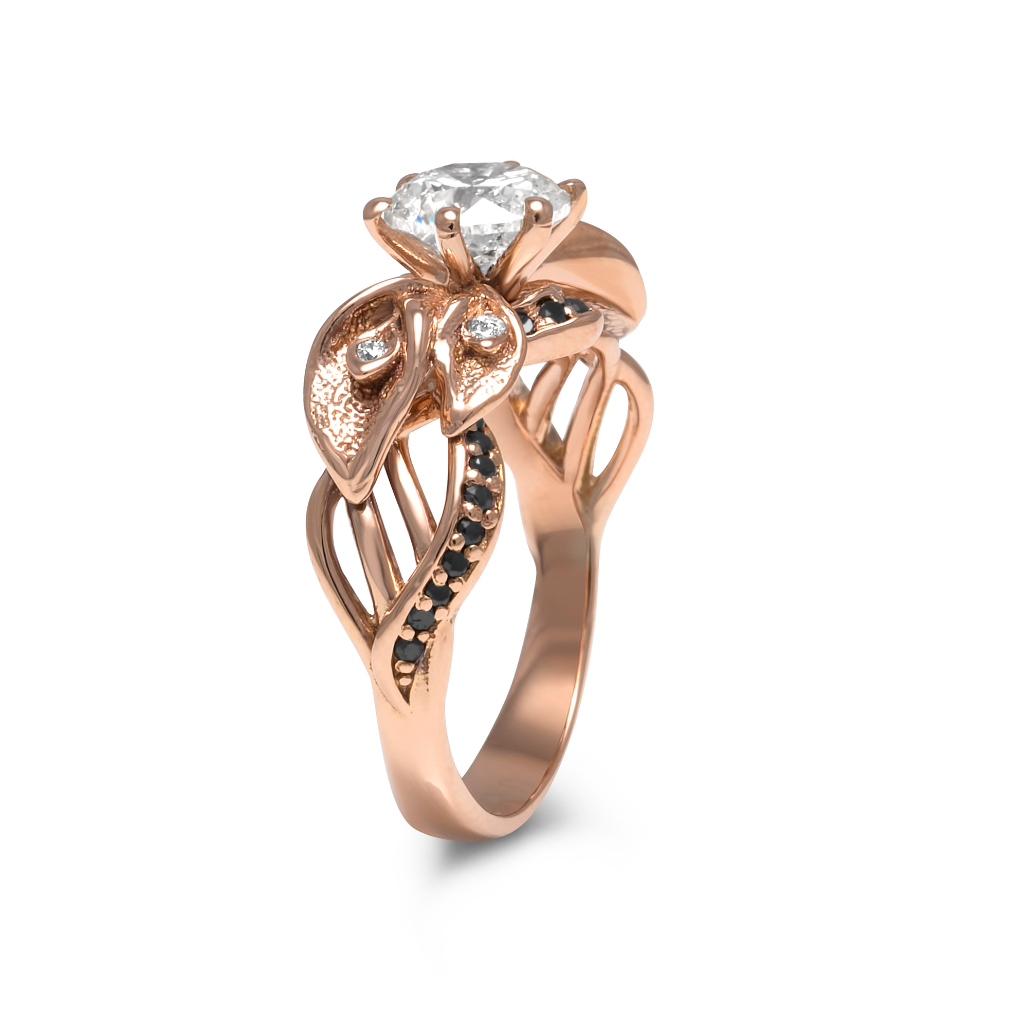 Calla Lily Flower Moissanite Engagement Ring Rose Gold With Black Diamonds Ring Unique Moissanite Engagement Ring