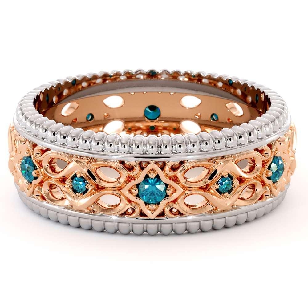 Blue Diamond Wedding Band Gold Wedding Ring Art Deco Wedding Band