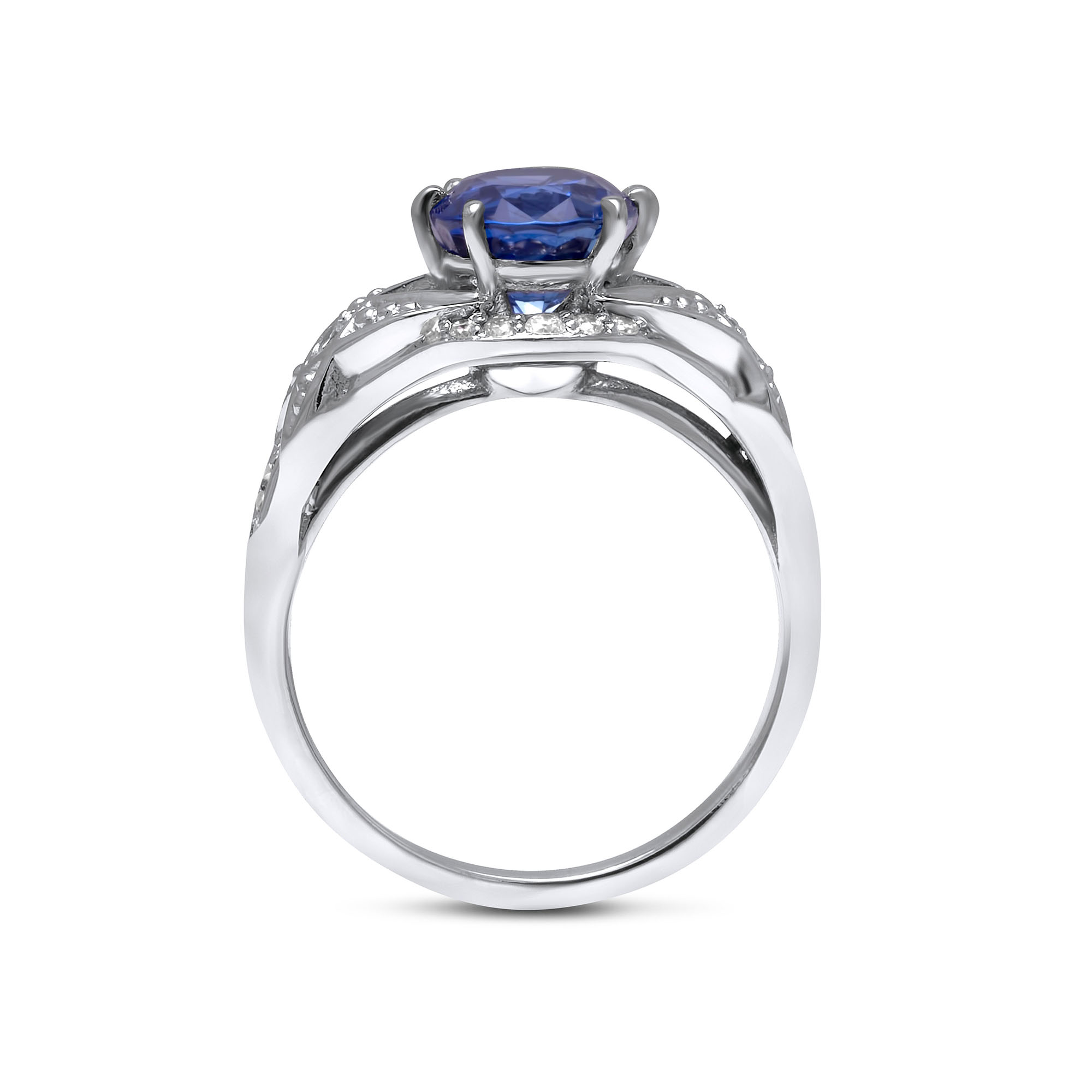 Oval Sapphire Engagement Ring Oval Cut Blue Sapphire Engagement Ring 14K White Gold Art Deco Ring