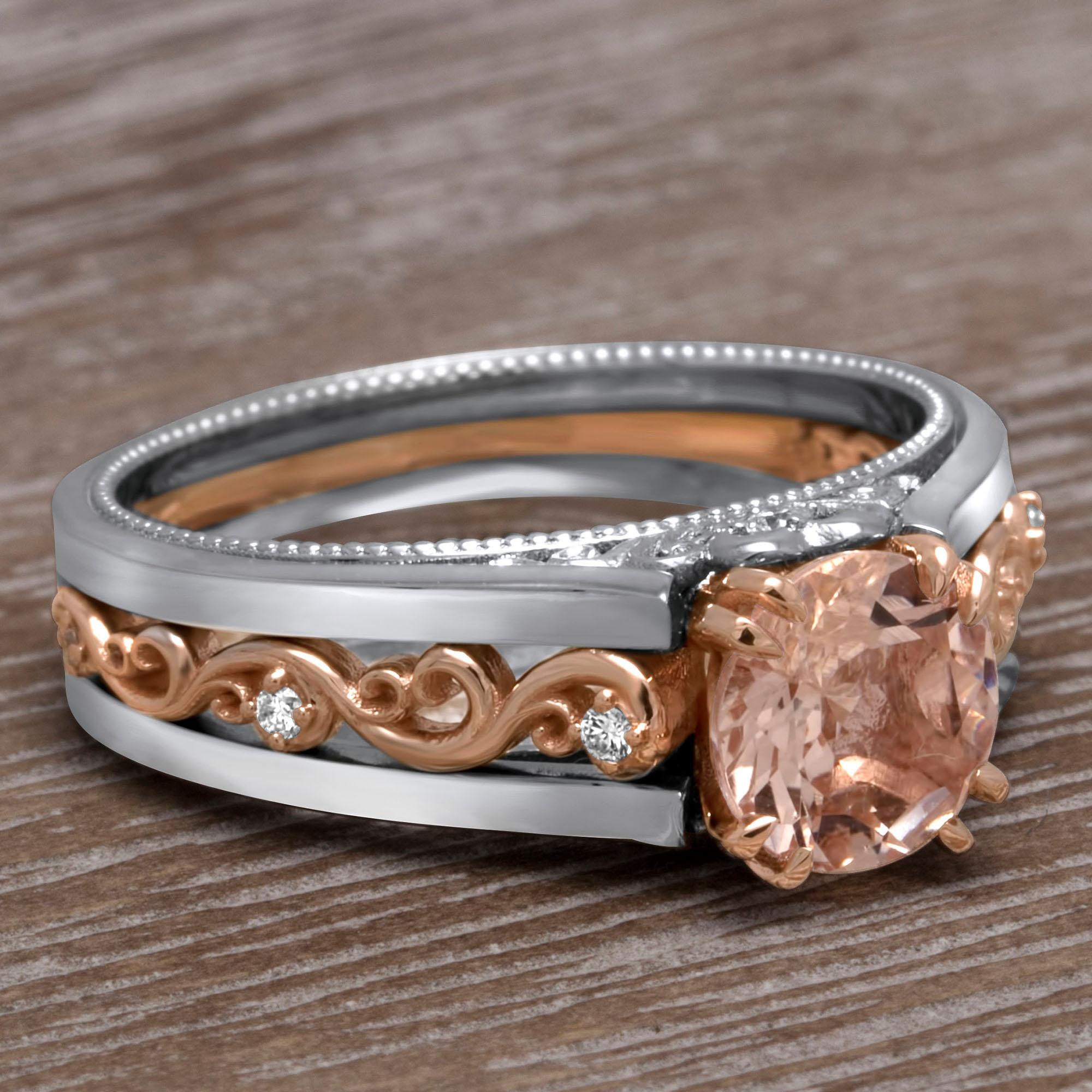 Antique Morganite Engagement Ring Vintage Morganite Ring Rose Gold and White Gold Ring Two Tone Gold Filigree Band
