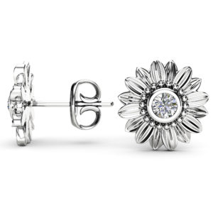 Sunflower Diamond Pendant and Earrings 14K White Gold Jewelry Set Anniversary Floral Pendant and Earrings