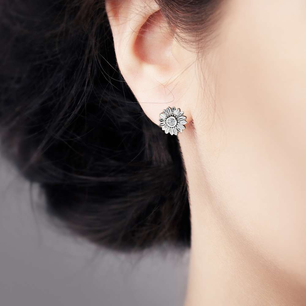 Sunflower Diamond Earrings 14K White Gold Bridal Jewelry Nature Inspired Stud Earrings Anniversary Gift