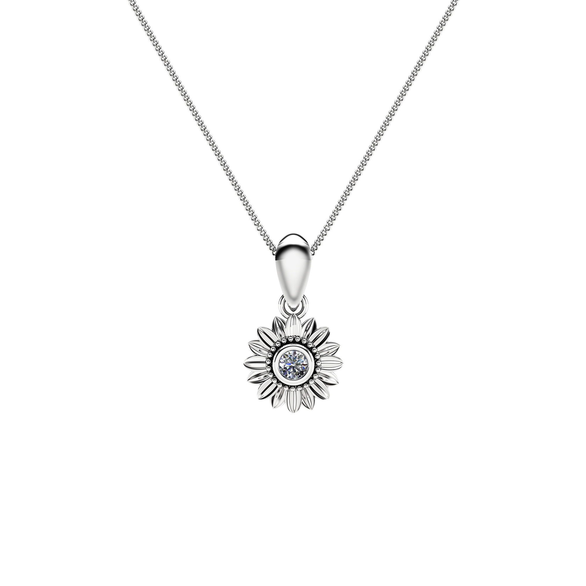 Sunflower Diamond Pendant 14K White Gold Bridal Jewelry Nature Inspired Pendant Anniversary Gift