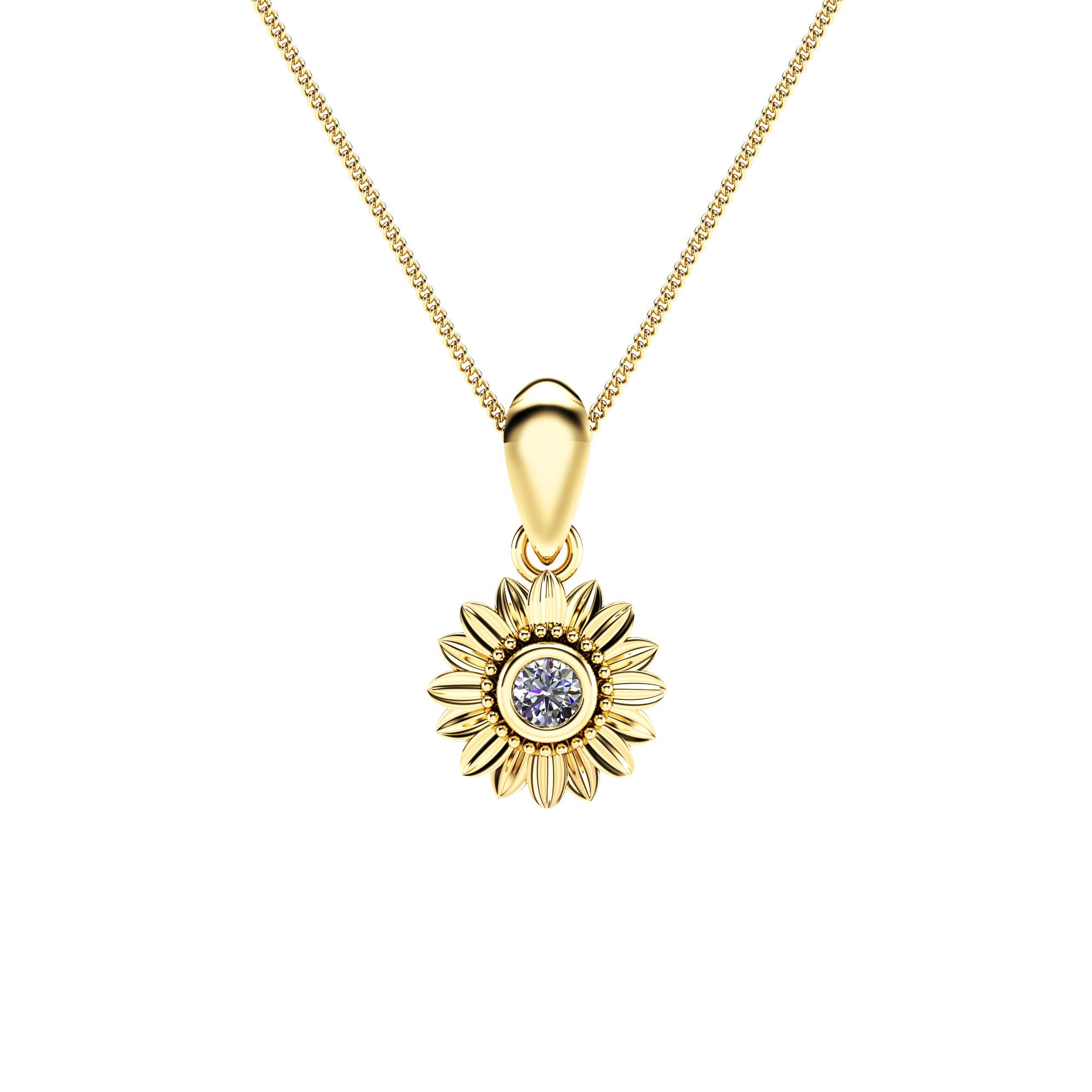 Sunflower Diamond Pendant 14K Yellow Gold Bridal Jewelry Nature Inspired Pendant Anniversary Gift