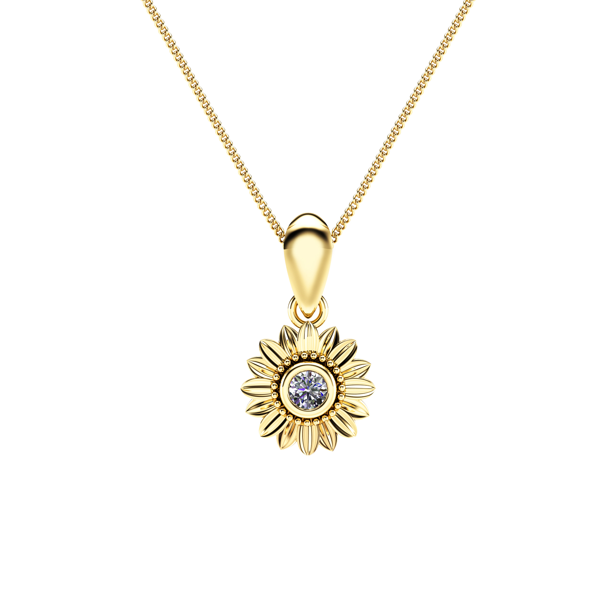 Sunflower Diamond Pendant and Earrings 14K Yellow Gold Jewelry Set Anniversary Floral Pendant and Earrings
