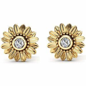 Gold Diamond Earrings 14K Yellow Gold Bridal Jewelry Bridesmaid Sunflower Jewelry Set