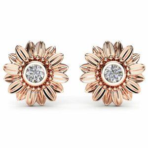 Gold Diamond Earrings 14K Rose Gold Bridal Jewelry Bridesmaid Sunflower Jewelry Set