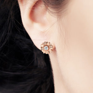 Gold Diamond Earrings 14K Rose Gold Bridal Jewelry Bridesmaid Sunflower Jewelry Set