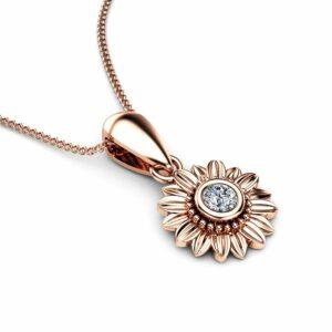Sunflower Diamond Pendant 14K Rose Gold Bridal Jewelry Nature Inspired Necklace Anniversary Gift