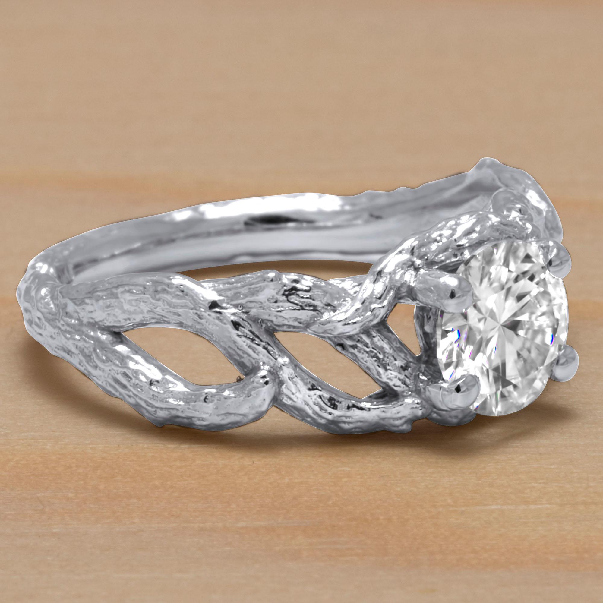 Branch Ring Moissanite Engagement Ring Branch Nature Inspired Ring Unique Solid White Gold Engagement Ring