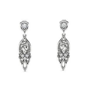Art Nouveau Diamond Earrings Chandelier Gold Earrings Leaves Earrings Vintage Diamond Earrings Mothers Day Gift