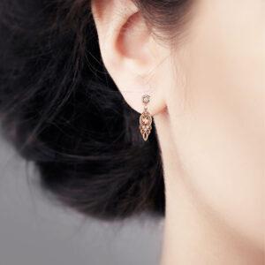 Art Nouveau Diamond Earrings Chandelier Earrings Rose Gold Leaves Earrings Vintage Diamond Earrings Mothers Day Gift