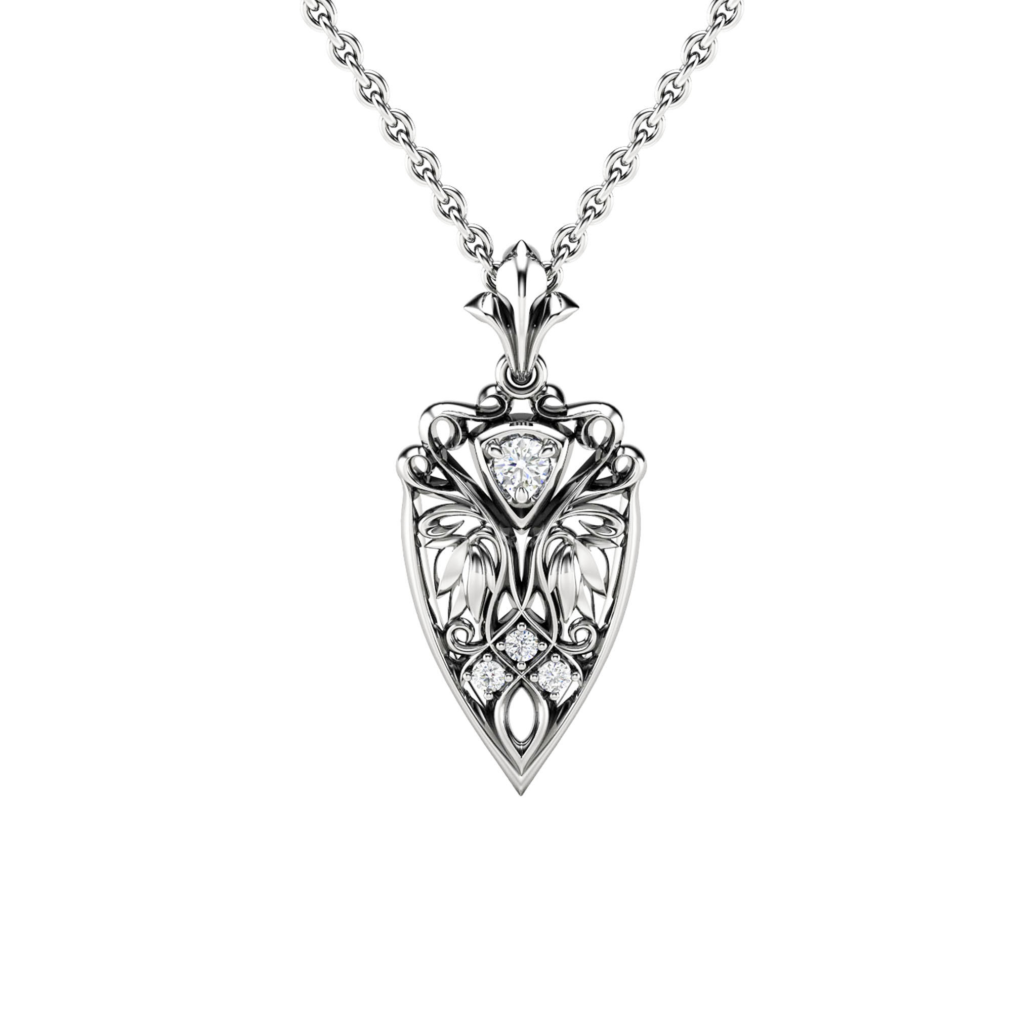 Art Nouveau Diamond Pendant Edwardian 14K White Gold Pendant Necklace Valentine's Day Gift Leaves Pendant