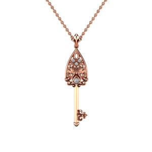 Gold Key Pendant Edwardian Diamonds Key Pendant 14K Rose Gold Pendant Necklace Unique Diamond Pendant