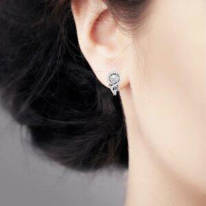 Diamond Halo Earrings Moissanite Earrings 14K White Gold Earrings Unique Anniversary Gift