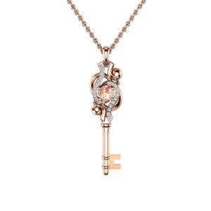 Unique Key Pendant Necklace Morganite Pendant 14K Rose Gold Necklace Diamonds Key Pendant