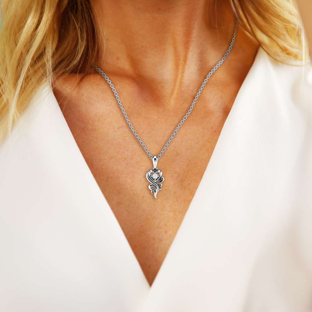 Diamond Necklace Pendant 14K White Gold Necklace Pendant 0.1 Ct Diamond Pendant Heart Shape Pendant