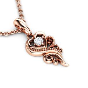 Diamond Necklace Pendant 14K Rose Gold Necklace Pendant 0.1 Ct Diamond Pendant Heart Shape Pendant