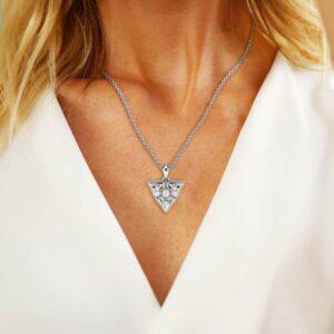 Diamond Anniversary Pendant 14K White Gold Floral Necklace Pendant Diamonds Pendant