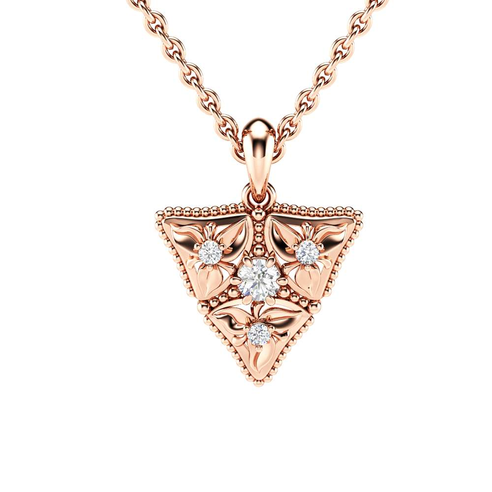 Diamond Anniversary Pendant 14K Rose Gold Floral Necklace Pendant Diamonds Pendant