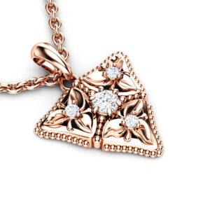 Diamond Anniversary Pendant 14K Rose Gold Floral Necklace Pendant Diamonds Pendant
