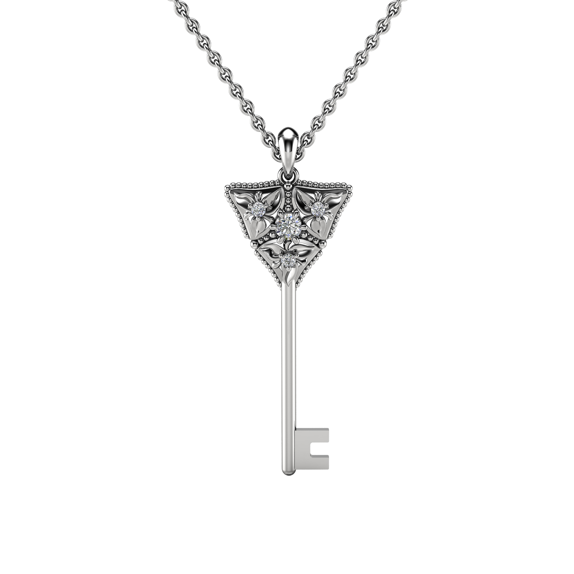 Diamond Key Pendant Necklace Diamond Pendant 14K White Gold Necklace Floral Diamonds Key Pendant