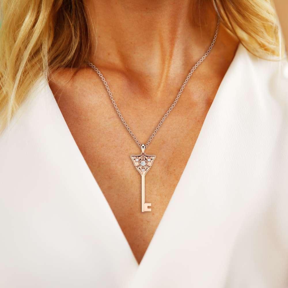 Diamond Key Pendant Necklace Diamond Pendant 14K Rose Gold Necklace Floral Diamonds Key Pendant