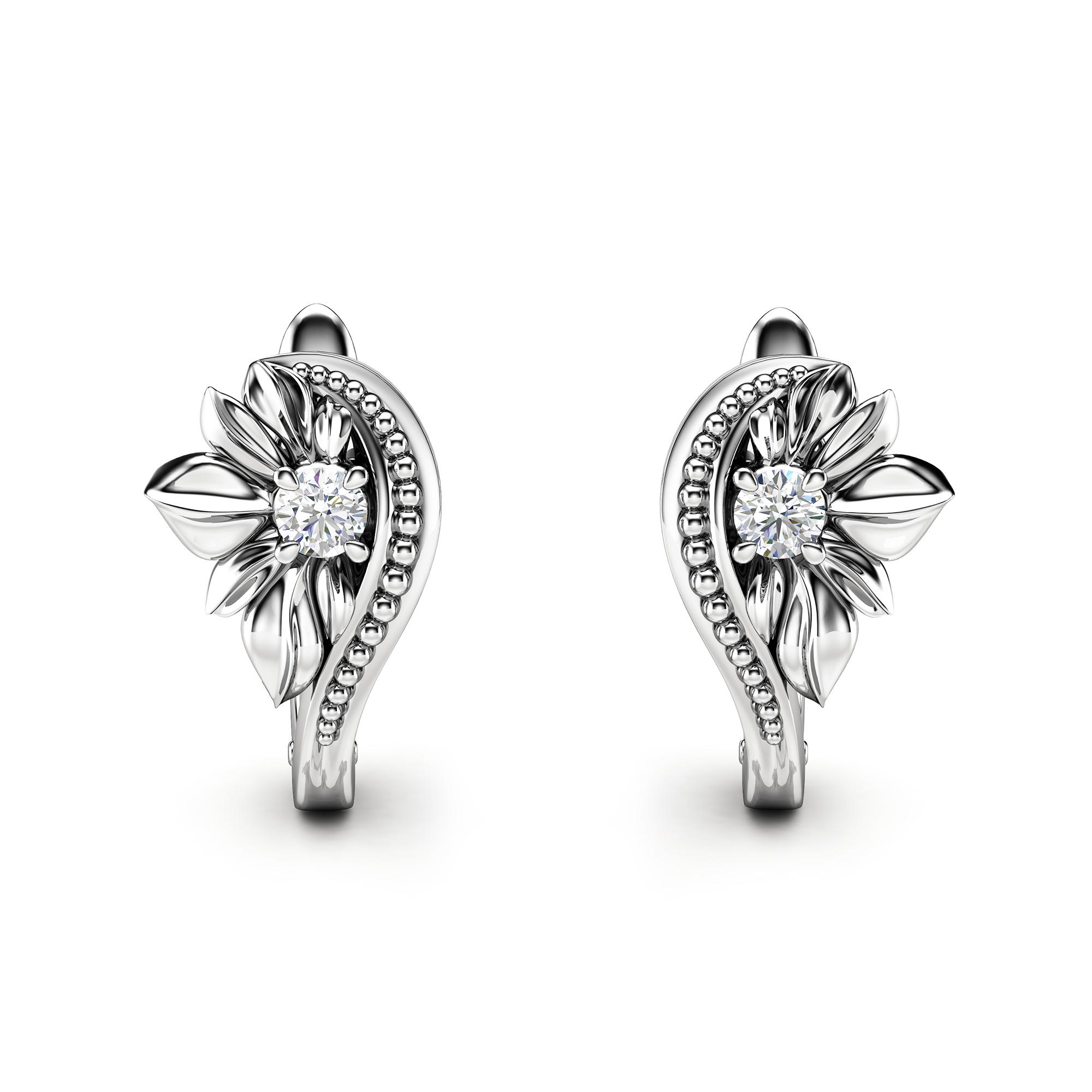Floral Diamond Earrings Milgrain Stud Earrings White Gold Earrings Unique Flower Diamond Earrings