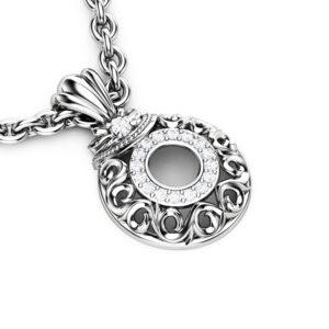 Diamonds Halo Pendant White Gold Necklace Pendant Edwardian Anniversary Diamonds Pendant