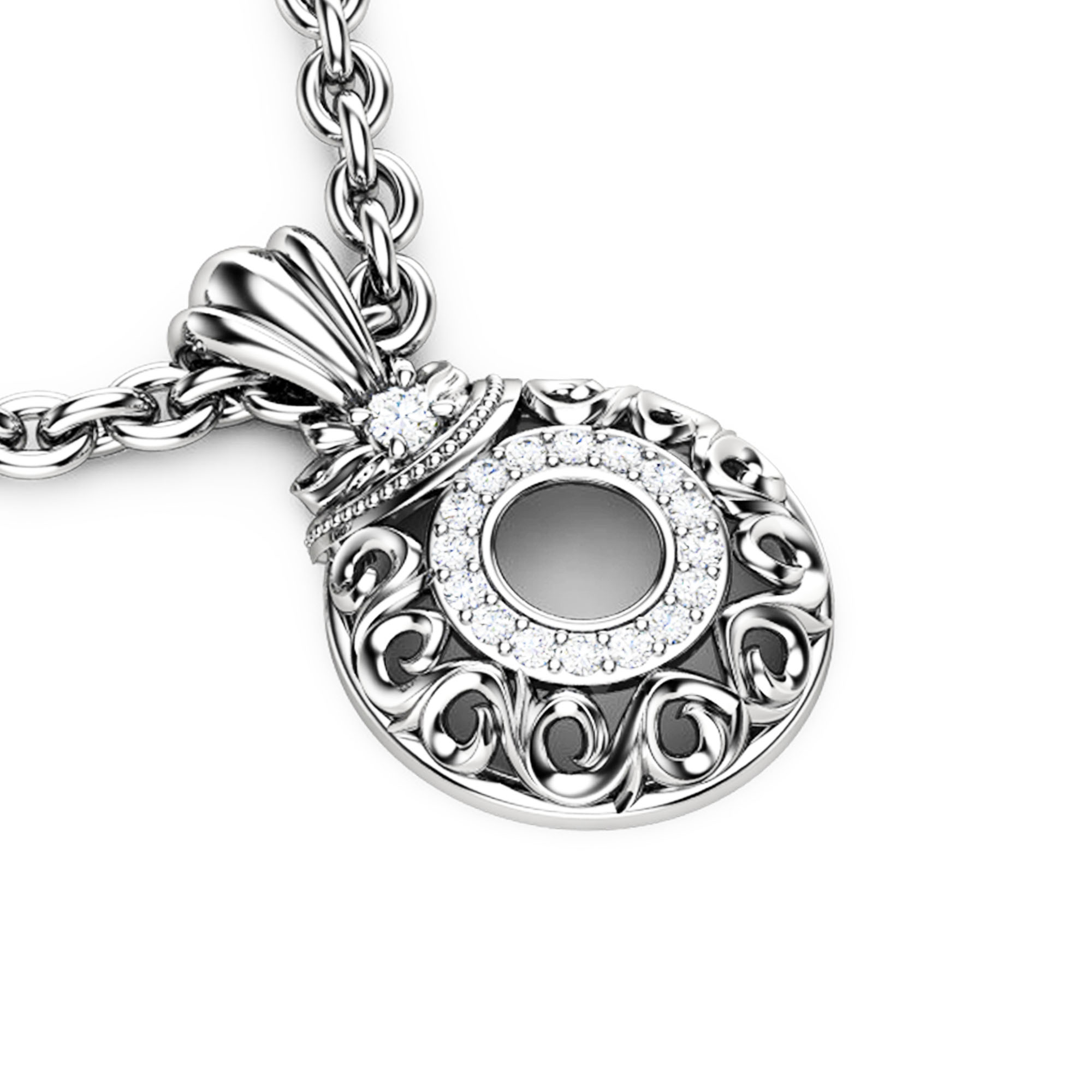 Diamonds Halo Pendant White Gold Necklace Pendant Edwardian Anniversary Diamonds Pendant