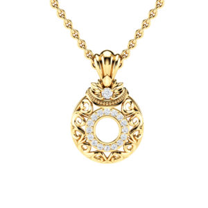 Diamonds Halo Pendant 14K Yellow Gold Necklace Pendant Edwardian Anniversary Diamonds Pendant