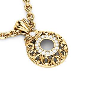 Diamonds Halo Pendant 14K Yellow Gold Necklace Pendant Edwardian Anniversary Diamonds Pendant