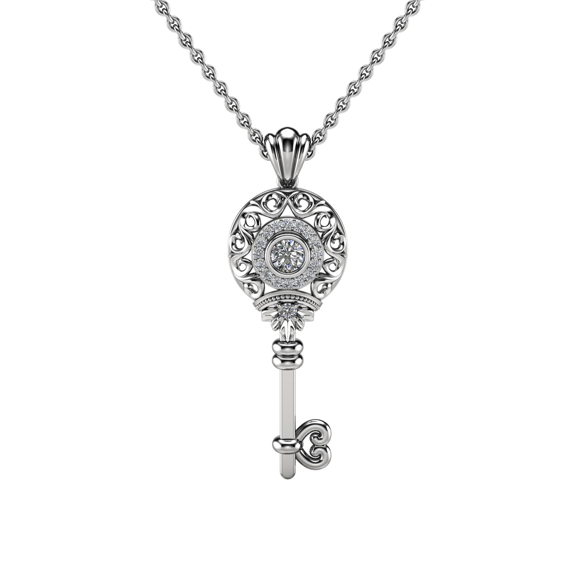 Gold Key Pendant Moissanite Pendant Edwardian 14K White Gold Diamonds Key Pendant Necklace