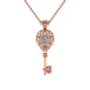 Gold Key Pendant Moissanite Pendant Edwardian 14K Rose Gold Diamonds Key Pendant Necklace