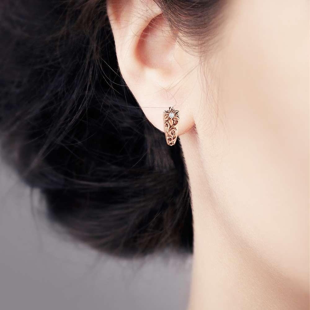 Floral Diamond Earrings Rose Gold Earrings Huggy Earrings Unique Flower Leaves Diamond Earrings