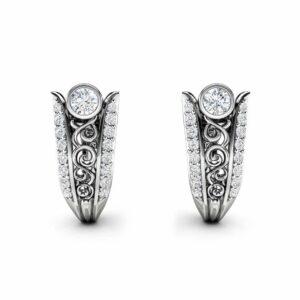 Diamond Earrings Gold Earrings Huggy Earrings Hoop Earrings Art Nouveau Diamonds Earrings